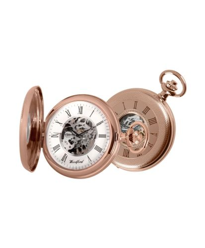 Mechanical Rose Gold Plated Patterned Pocket Watch With Chain